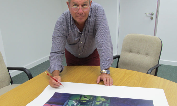 Aubrey Powell signing Strawbs Deadlines art print by Hipgnosis