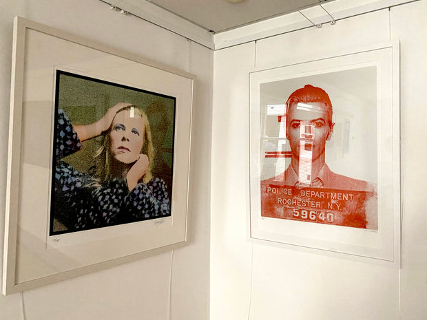 David Bowie print by Terry Pastor framed on exhibition