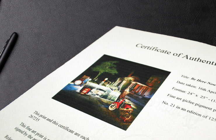 Photograph of Michael Spencer Jones art print certificate
