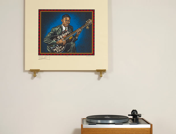 Scale photo of B.B. King print by Robert Crumb