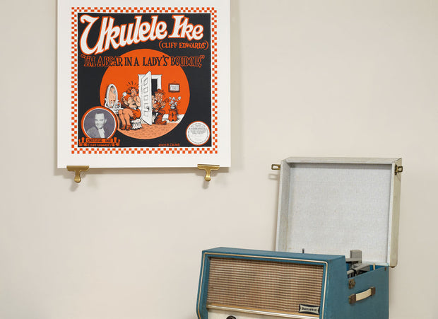 Scale photo of Ukulele Ike I'm A Bear In A Lady's Boudoir silkscreen print by Robert Crumb