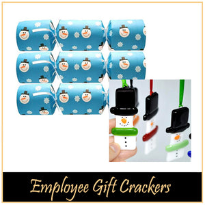 "Employee Gift Christmas Crackers - ""Snowman Fused Glass Tree Ornament"""