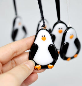 "Fused Glass Tree Ornament - ""Penguin"""