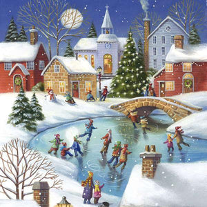 "Corporate Party Napkins - ""Skating on the Pond"""