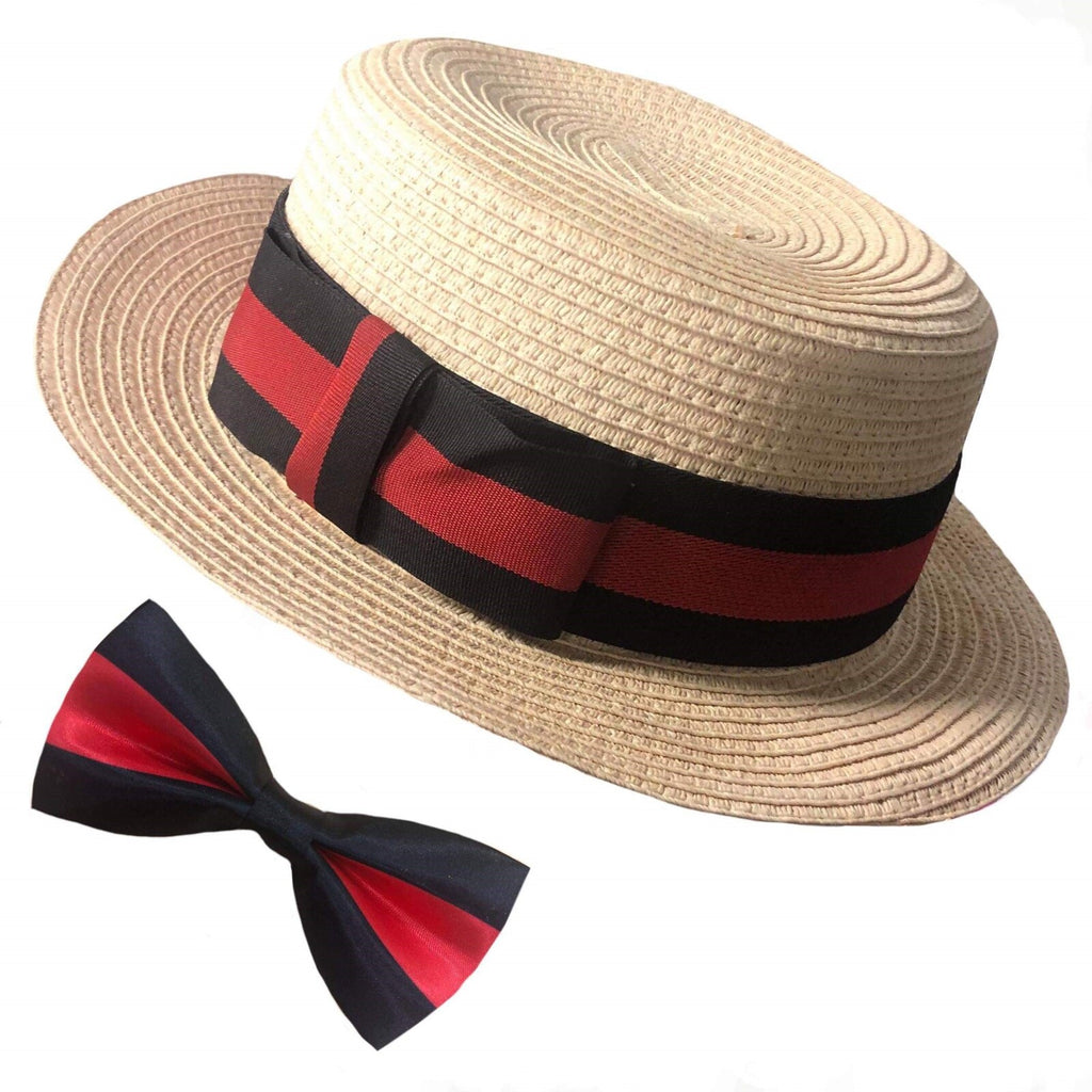 1920's Boater Hat & Bow Tie Set