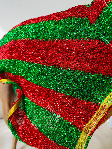 Christmas Cape - small dog or larger cat  Red/green stripes