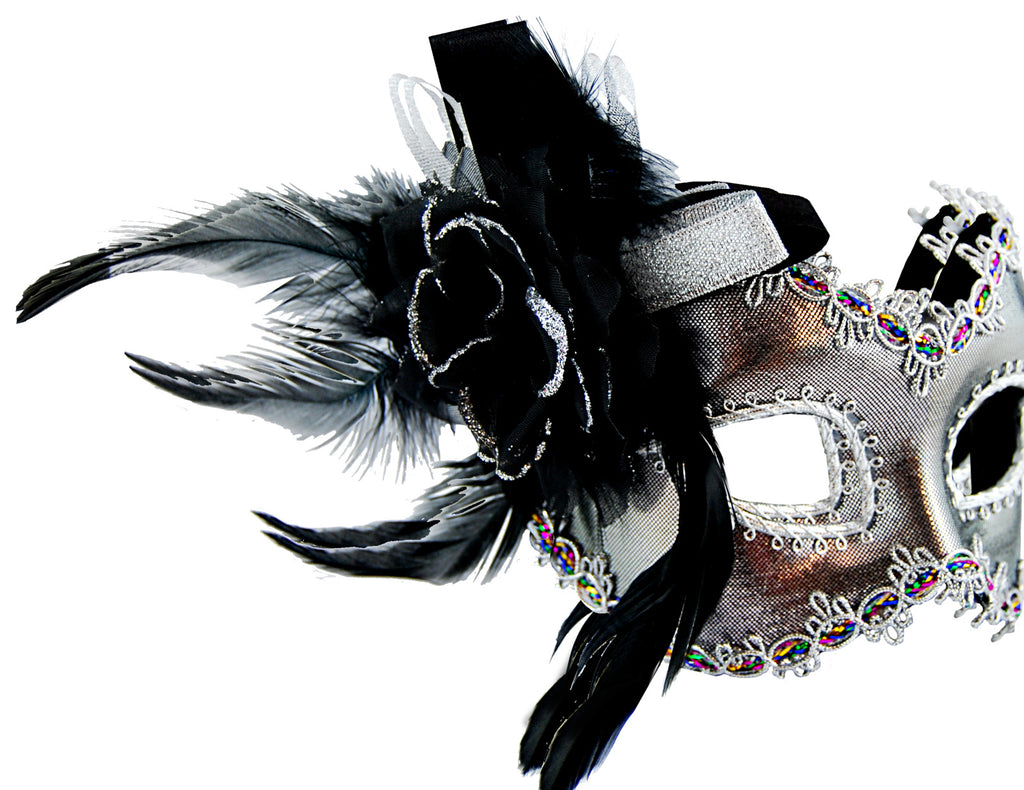 Silver Masquerade Mask w/Side Feather