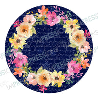 Coaster - Navy with Floral Wreath
