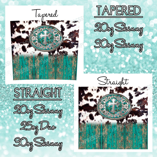 Cowhide With Teal Wood & Buckle - Tumbler Wrap