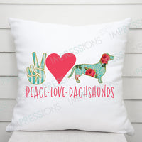 Peace Love Dachshunds - Floral