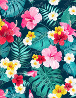 Pink & Yellow Tropical Flowers Pattern