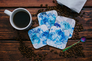 Blue and Silver Floral Coaster Set