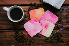 Load image into Gallery viewer, Pink Hued Watercolor Coaster Set