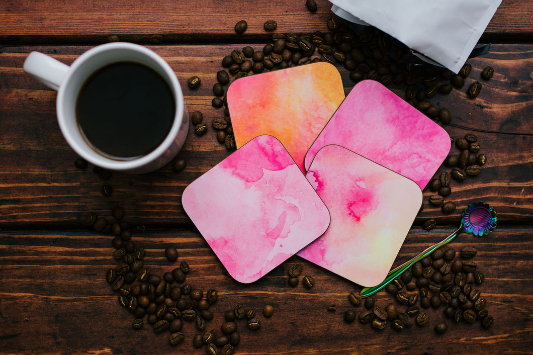 Pink Hued Watercolor Coaster Set