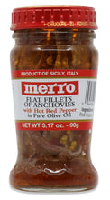 Load image into Gallery viewer, Merro - Flat Filetts Of Anchovies With HOT Red Pepper - 90g (3.17 oz)