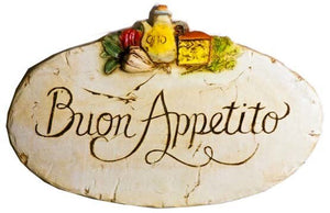 Buon Appetito oval with veg - Wall Plaque