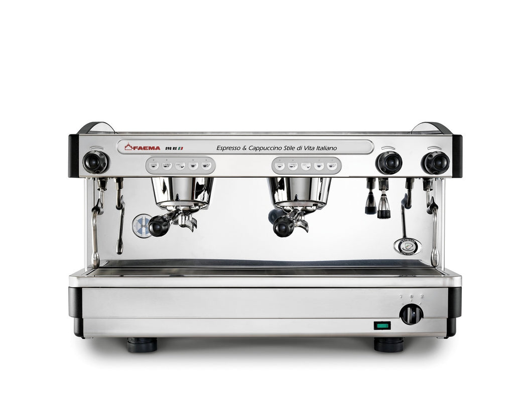 Faema E98 2 Group Automatic Commercial Espresso Machine (Black / Stainless)