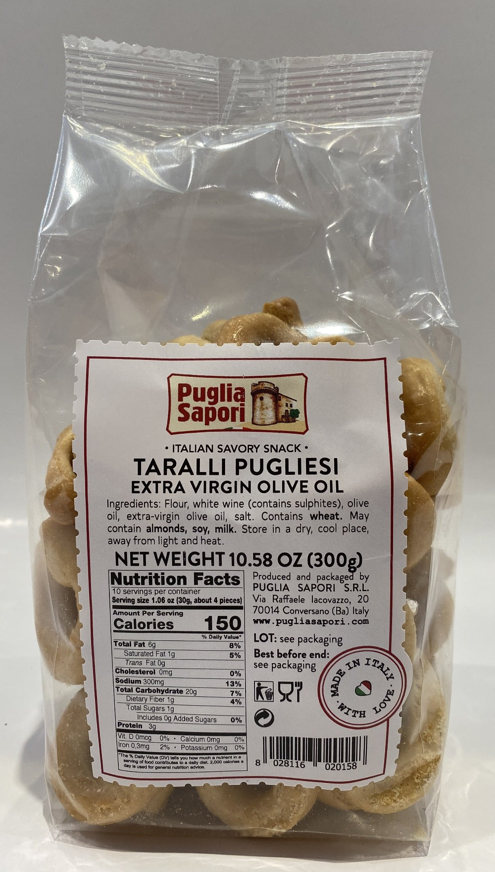 Puglia Sapori -Taralli With Extra Virgin Olive Oil -  300g (10.58 oz)
