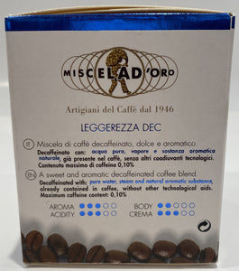 Miscela d'Oro Espresso Decaf Capsules - 10/Bag - Compatible with Nespresso® Machines