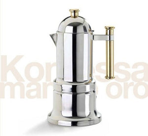 Kontessa Gold Stove Top Espresso Pot by Vev Vigano