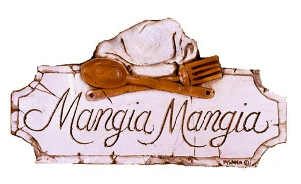 Mangia mangia w. chef hat - Wall Plaque
