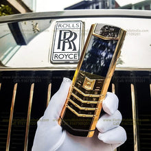 Load image into Gallery viewer, Vertu Signature Gold Mobile Phone with Keypad in Black Leather