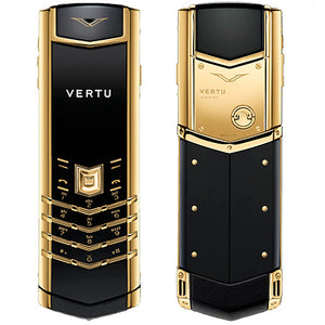 Vertu Signature Gold Mobile Phone with Keypad in Black Leather