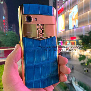 Vertu Aster P Made To Order / Blue Alligator / Gold