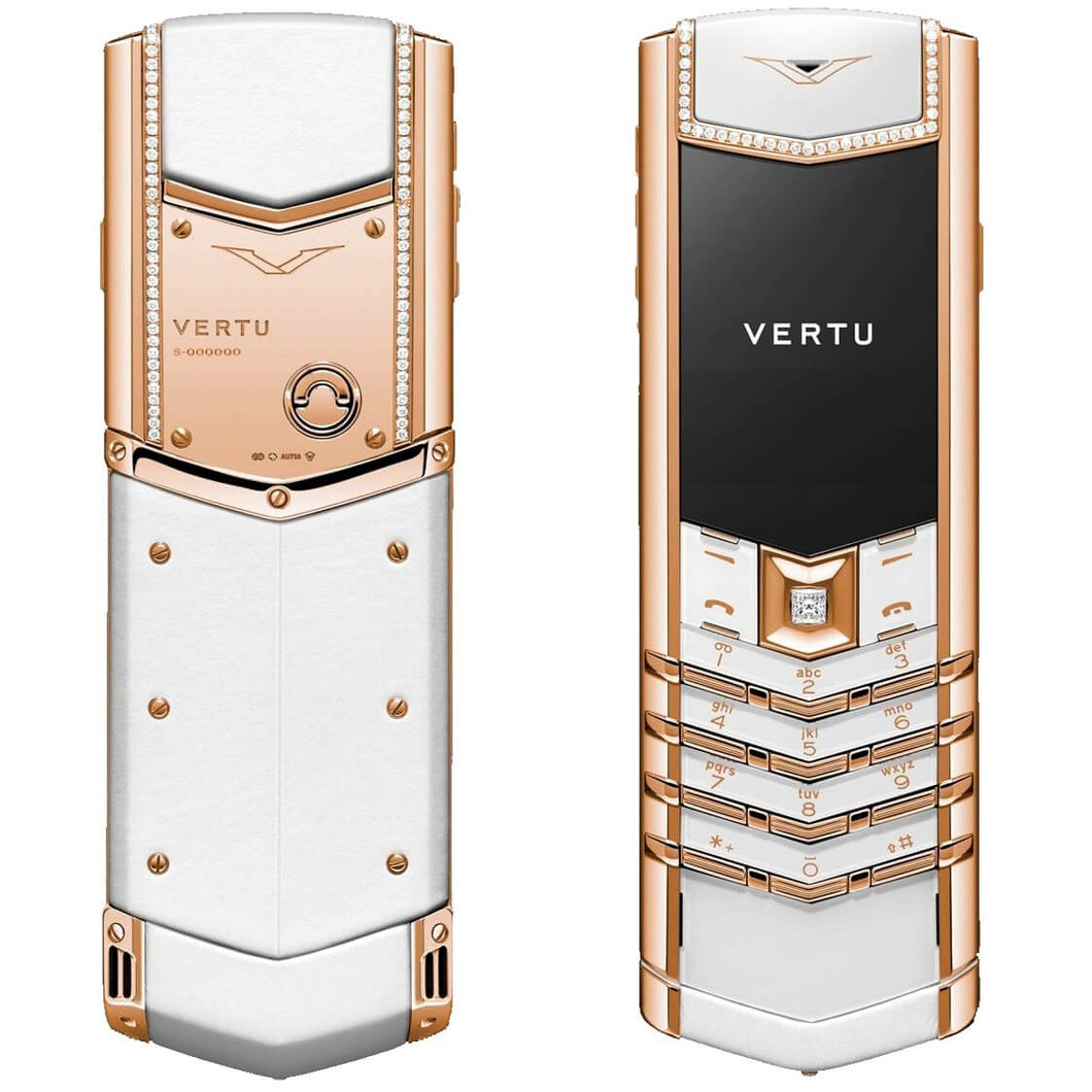 Vertu Signature Keypad White Diamonds Luxury Mobile Phone