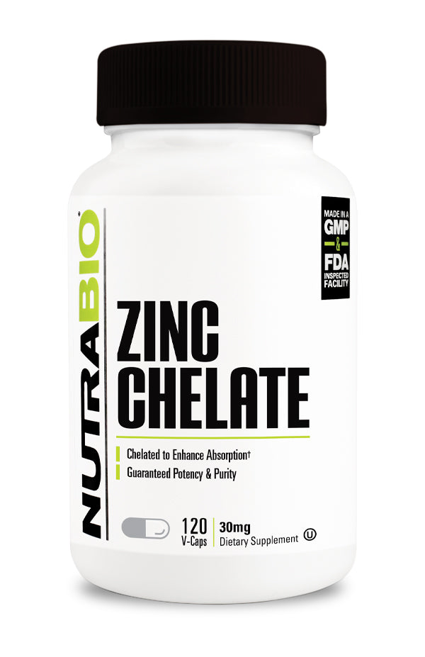 NutraBio Chelated Zinc (30mg)