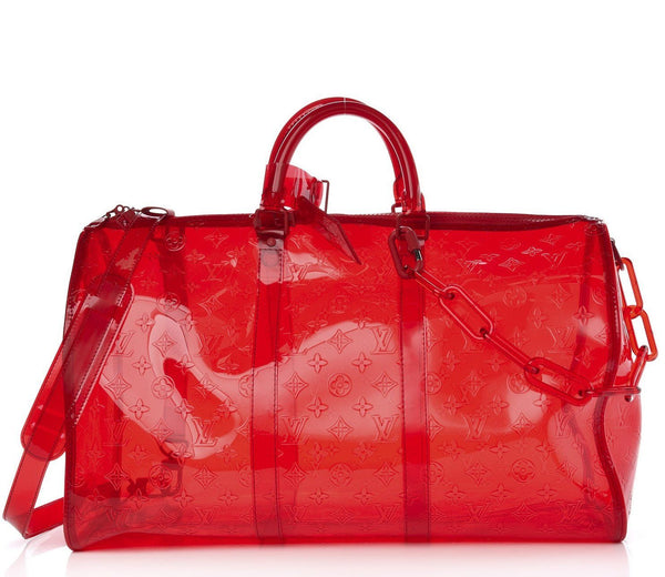LOUIS VUITTON PVC Monogram Keepall Bandouliere 50 Grenadine Red
