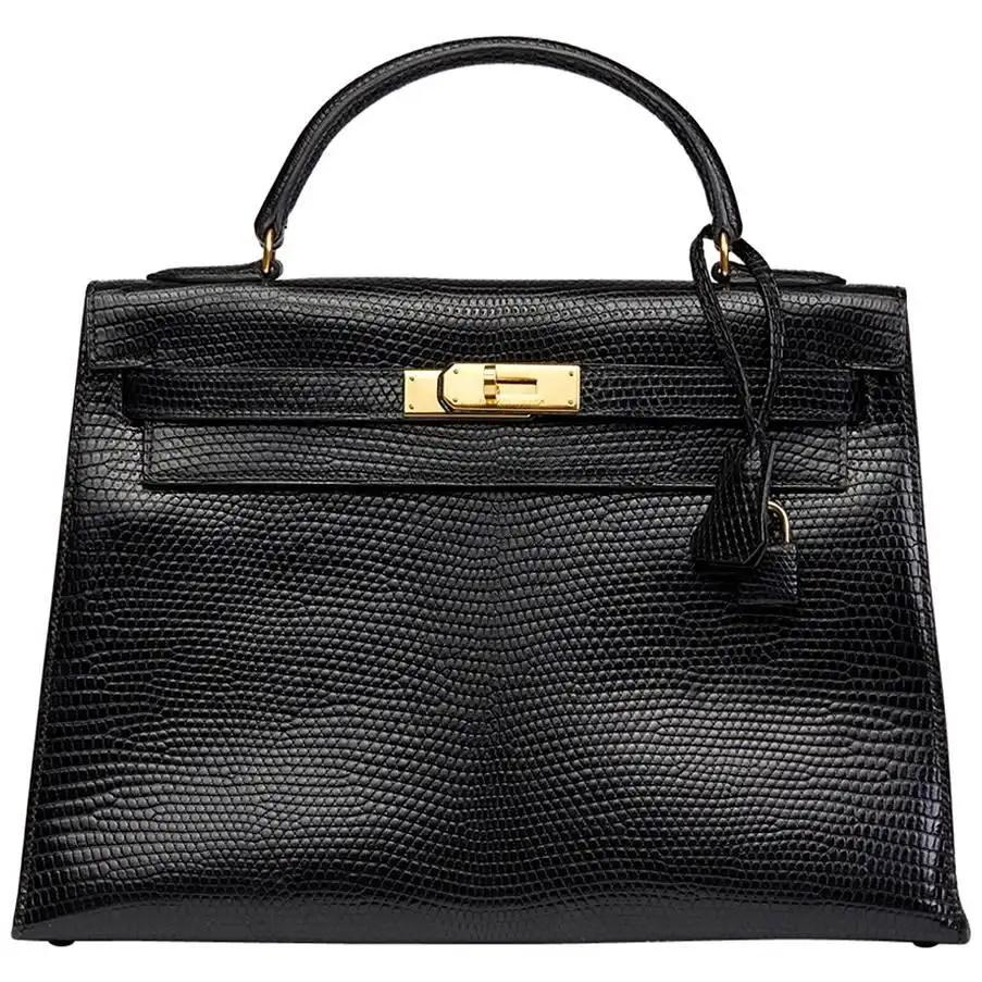 Hermes A Shiny Black Niloticus Lizard Sellier Kelly 32