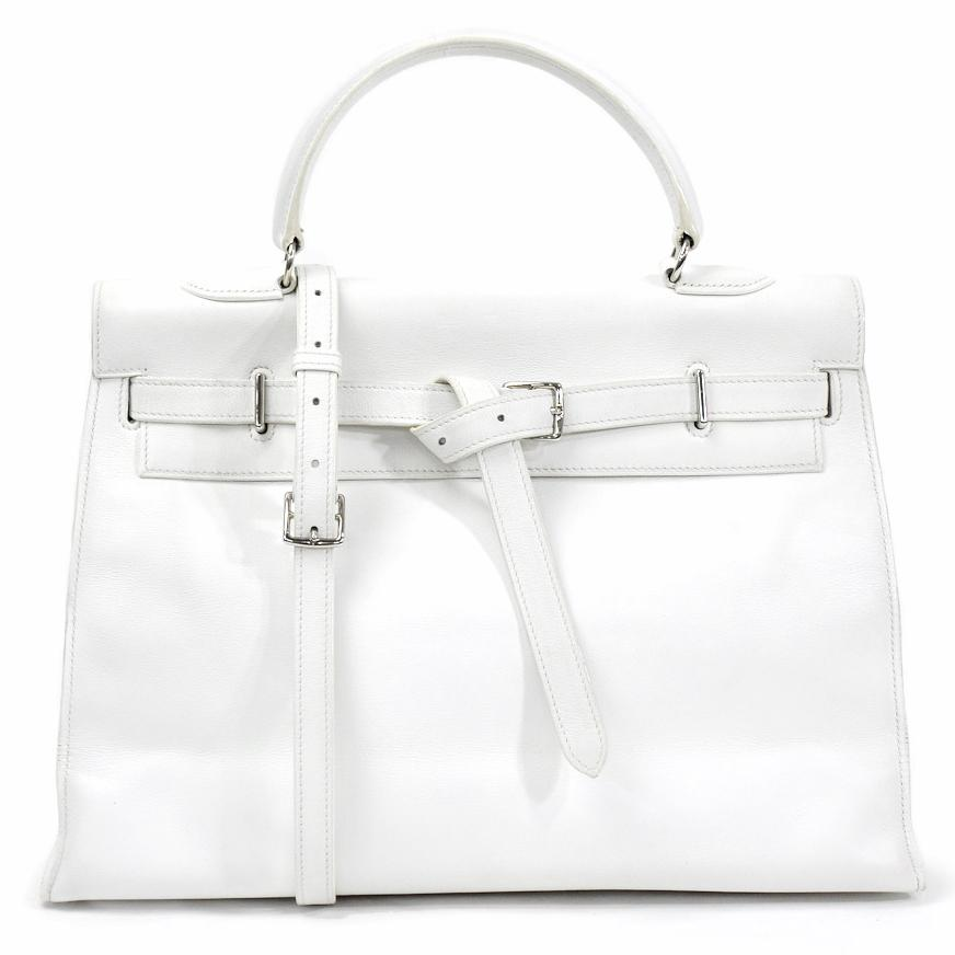 Hermes White Swift Leather Palladium Plated Kelly Flat 35 Bag