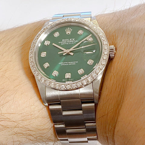 Rolex Datejust 36 Custom Diamond Green Dial - 16030