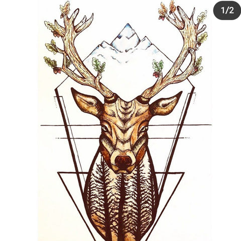 Geo Stag print - A4