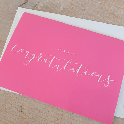 'Many Congratulations' Modern Calligraphy Card