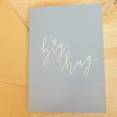 'Big Hug' Modern Calligraphy Card