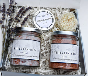 5 Pc Gorgeous Organic Quality Handcrafted Woman Spa Basket Women Spa box, Organic, Reusable Class Jars, Recycled Package - Willowandbramble