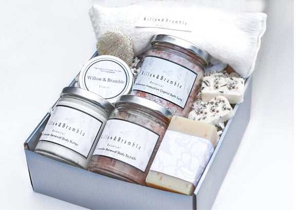 Sublime 10 P Spa Gift Basket Crafted Organic Ingredient Glass Jars Spa Package Mom Sister Wife Friend Relaxation in a box - Willowandbramble