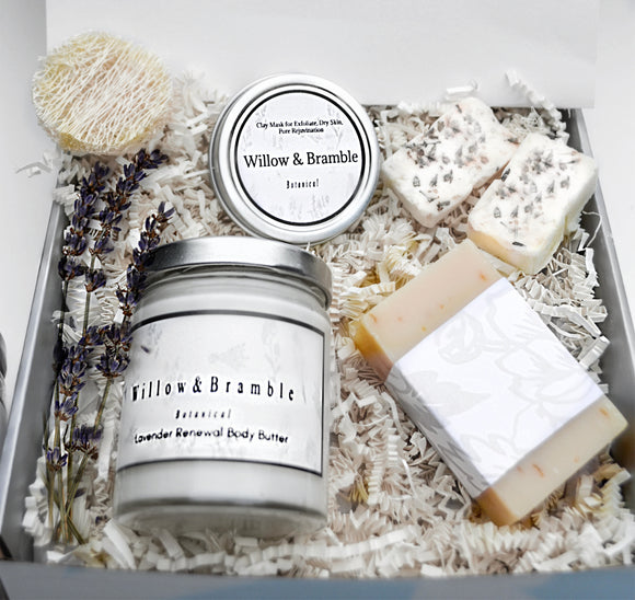 Valentines Day Sublime Spa Gift Set 75% off 7 Pcs. Gorgeous Organic Handcrafted,Women Spa Basket Organic, Glass Jars, Recycled Package - Willowandbramble