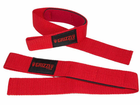 Grizzly Padded Lifting Straps Red (8611-32)