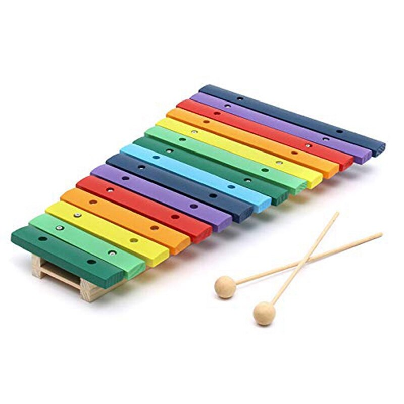 Super sell-15 Tone Colorful Wooden Glockenspiel Xylophone Educational Percussion Musical Instrument Toy Education Musical Instru