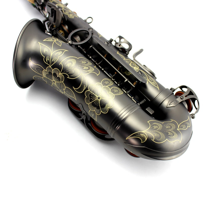 Top Professional Custom ALTO Saxophone Black Matt Nickel Gold Eb Sax Accessories Musical Instruments Free Shipping