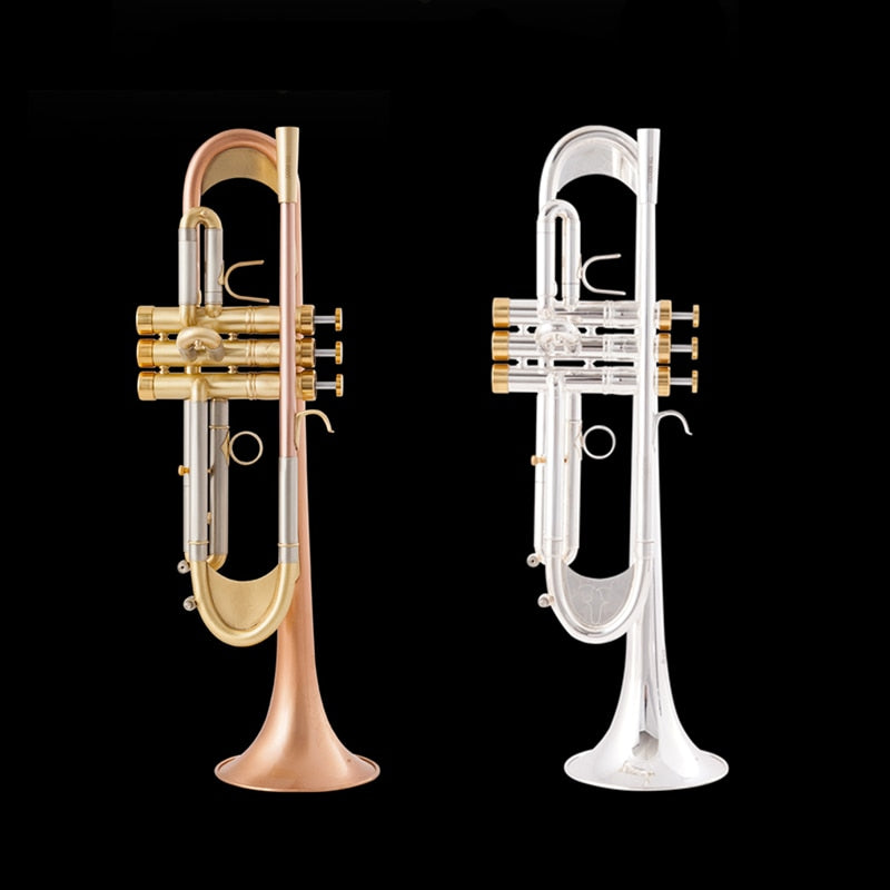TR-600GS New Arrival Bb Trumpet High Quality Gold Lacquer Silver Plated Trumpet Brass Musical Instruments Composite Type Trumpet