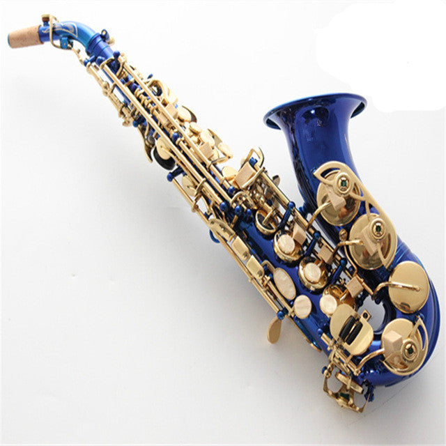 Soprano Curved Saxophone Blue Sax gold key Brass Body Neck Musical Instruments with Mouthpiece free