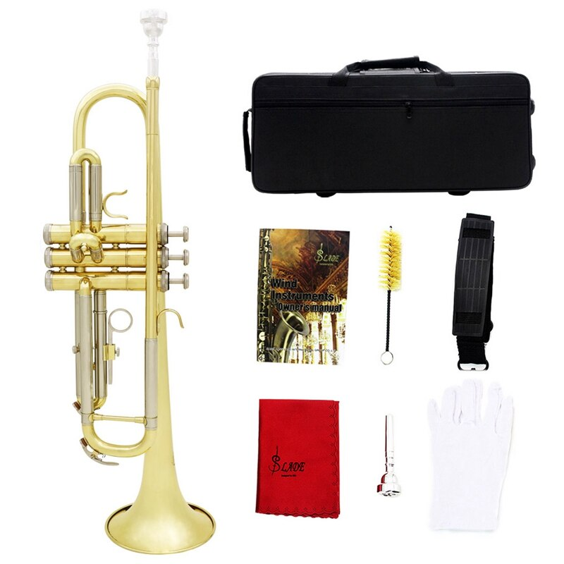 Slade Trumpet Bb B Flat Durable Brass Trumpet Beginner Musical Instrument with Mouthpiece Gloves and Exquisite Gig Bag