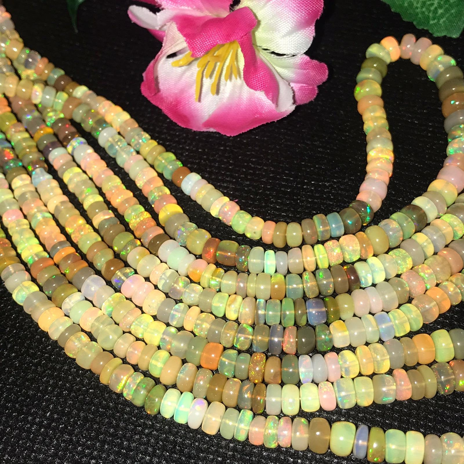 Quality Roundel Beads 16inch Long Strand Full Flashy Fire Necklace E41 Amazing Quality Natural Ethiopian Opal Beads 3MM To 4MM Size AAA+
