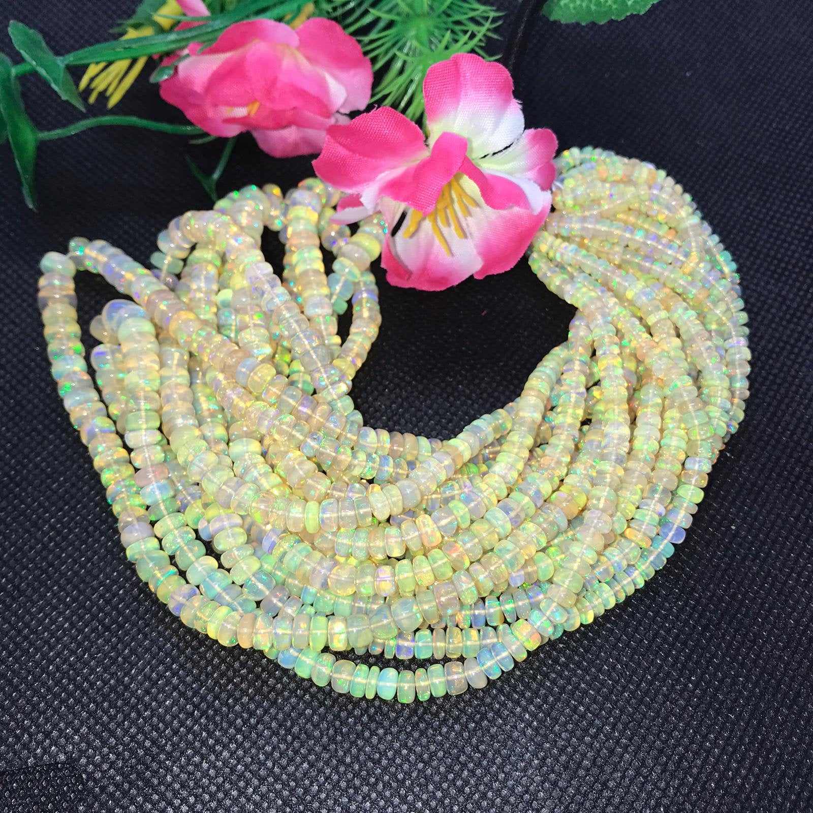 Quality Roundel Beads 16inch Long Strand Full Flashy Fire Necklace AX3 Amazing Quality Natural Ethiopian Opal Beads 3MM To 4MM Size AAA+