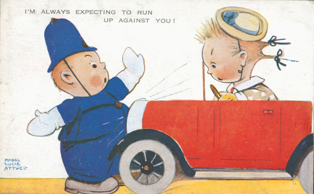 Mabel Lucie Attwell policeman stopping car illustration