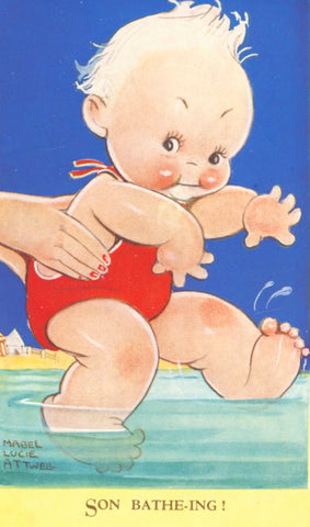 Mabel Lucie Attwell sun-batheing illustration